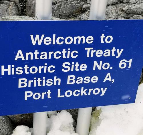 Port Lockroy sign Antarctica