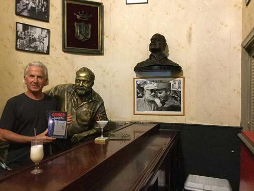 At La Florida, The Cuna de la Daiquiri, (birth place of the Daiquiri) with Ernest Hemingway and Pickleball Star, Havana