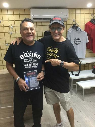 "Roberto Duran , photo for website. Caption below picture: Tito, in Panama with Boxing Legend, Roberto Duran ""Hands of Stone"""