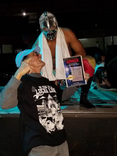 Dan Tito Davis Book Pimping at a professional wrestling match in Guadalajara, Mexico
